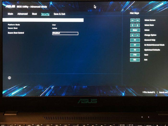 ASUS X570UD BIOS Secure Boot
