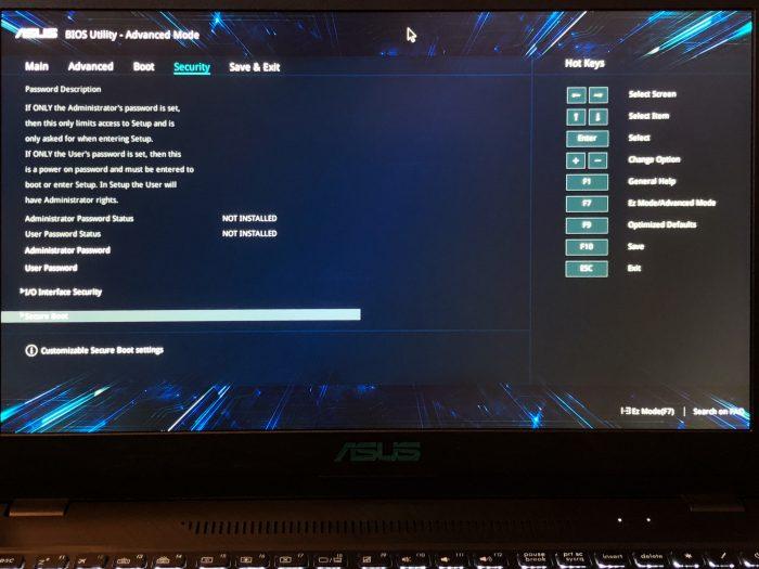 ASUS X570UD BIOS Security